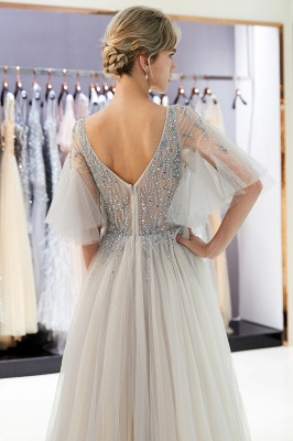 Sparkly Beading A-Line Evening Dresses | V-Neck Trumpet Sleeves Tulle Prom Dresses_8