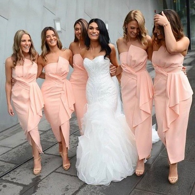 Pink Strapless Slit Bridesmaid Dresses | Asymmetrical Ankle Length Maid of the Honor Dress_2
