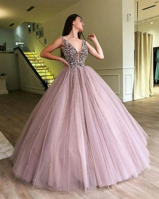 Luxury Ball Gown A-Line Prom Dresses | V-Neck Sleeveless Beading Puffy Evening Dresses_2