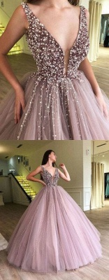 Luxury Ball Gown A-Line Prom Dresses | V-Neck Sleeveless Beading Puffy Evening Dresses_3
