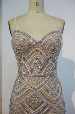Luxury Spaghetti Straps Evening Gowns | Shiny Beading Mermaid Prom Dresses_2