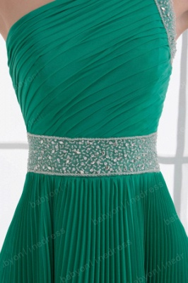 Wholesale 2021 Stunning One Shoulder Crystal Ruched Chiffon Evening Dresses DH4240_2