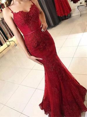 Elegant Sleeveless Mermaid Prom Dresses | Spaghettis Straps Lace Appliques Evening Gowns_3
