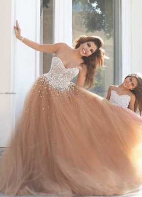 Mother And Daughter Dresses Champagne Girl's Dresses with Beading Long Girl's Pageant Dresses_3