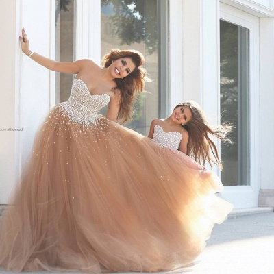 Mother And Daughter Dresses Champagne Girl's Dresses with Beading Long Girl's Pageant Dresses_1