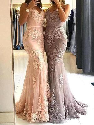 Elegant Sleeveless Mermaid Prom Dresses | Spaghettis Straps Lace Appliques Evening Gowns_1