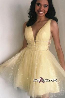 Strap Glitter A-line V-neck Short Beaded Homecoming Dresses_2