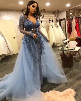 Gorgeous Lace Mermaid Prom Dresses | V-Neck Long Sleeves Beading Over Skirt Evening Dresses_3