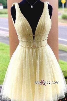 Strap Glitter A-line V-neck Short Beaded Homecoming Dresses_1