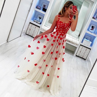 Cute Red Heart Shape Appliques Prom Dresses | Straps Tulle Long Party Dresses_2