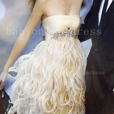 Special Design Beautiful Prom Dresses 2021 Wholesale Strapless Feather Beaded Sheath Gowns For Sale BO0960_2