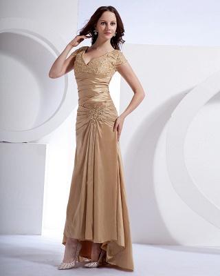 Absorbing V-Neck Floor Length Taffeta Applique Beading Mothers of Bride & Special Guests Dress_7
