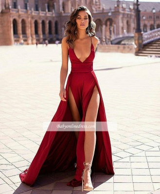 Slit Sexy Spaghetti-straps Stain V-Neck Evening Dresses_1