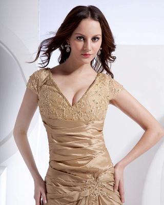 Absorbing V-Neck Floor Length Taffeta Applique Beading Mothers of Bride & Special Guests Dress_5