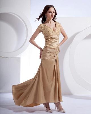 Absorbing V-Neck Floor Length Taffeta Applique Beading Mothers of Bride & Special Guests Dress_6