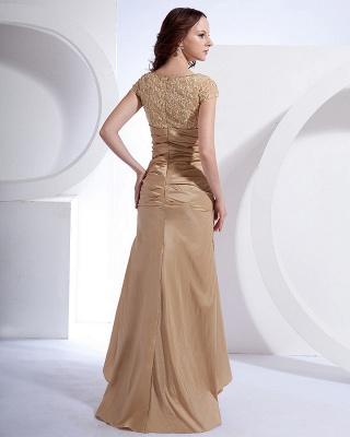 Absorbing V-Neck Floor Length Taffeta Applique Beading Mothers of Bride & Special Guests Dress_8