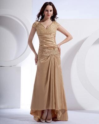 Absorbing V-Neck Floor Length Taffeta Applique Beading Mothers of Bride & Special Guests Dress_1