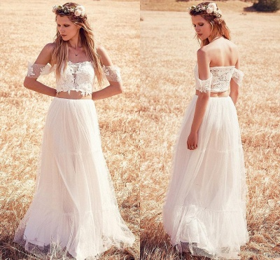 Two Pieces Boho A-Line Wedding Dresses | Off-The-Shoulder Lace Long Bridal Gowns_5