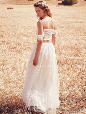 Two Pieces Boho A-Line Wedding Dresses | Off-The-Shoulder Lace Long Bridal Gowns_2