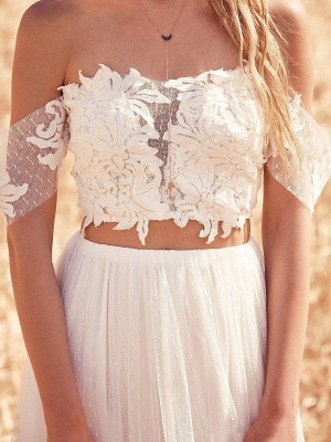 Two Pieces Boho A-Line Wedding Dresses | Off-The-Shoulder Lace Long Bridal Gowns_4