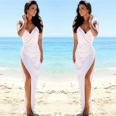 Sexy Deep V-neck Ruffles Wedding Dress | Side Slit Party Dress_3