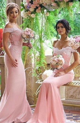 2021 Pink Mermaid Bridesmaid Dresses Off the Shoulder Lace Appliques Elegant Maid of the Honor Dresses_1