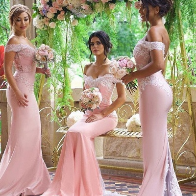 2021 Pink Mermaid Bridesmaid Dresses Off the Shoulder Lace Appliques Elegant Maid of the Honor Dresses_3