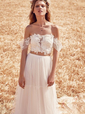 Two Pieces Boho A-Line Wedding Dresses | Off-The-Shoulder Lace Long Bridal Gowns_3