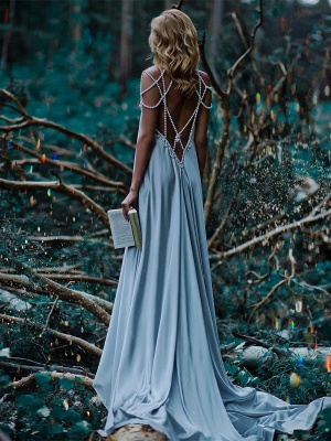 Sexy Beading A-Line Prom Dresses | Simple Spaghetti Straps Long Evening Dresses_3
