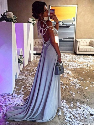 Sexy Beading A-Line Prom Dresses | Simple Spaghetti Straps Long Evening Dresses_4