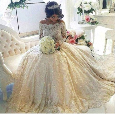 Glamorous Lace Off-the-Shoulder 2021 Wedding Dresses Long Sleeves Bridal Gowns with Long Train_3