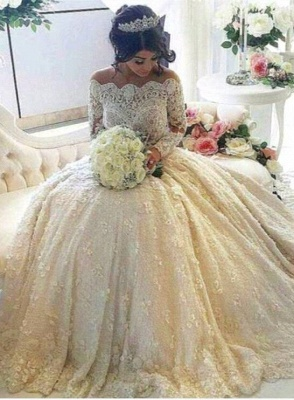 Glamorous Lace Off-the-Shoulder 2021 Wedding Dresses Long Sleeves Bridal Gowns with Long Train_1