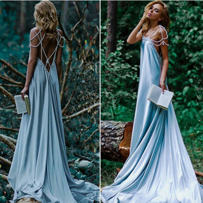 Sexy Beading A-Line Prom Dresses | Simple Spaghetti Straps Long Evening Dresses_2