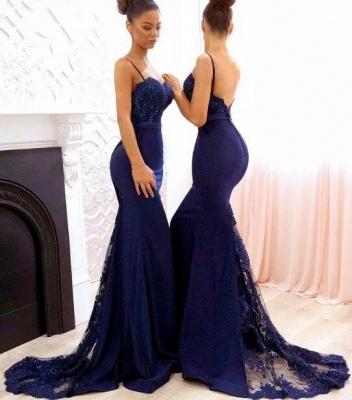 Elegant Dark Navy Bridesmaid Dresses | Spaghettis Straps Lace Prom Dresses_3