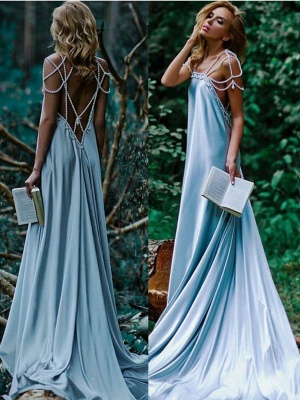 Sexy Beading A-Line Prom Dresses | Simple Spaghetti Straps Long Evening Dresses_1