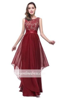 Sleeveless Appliques Lace Elegant Chiffon Long Evening Dress_9