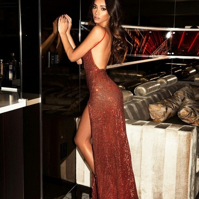 Sexy Burgundy Slits Party Dresses | Backless Sequin Long Evening Gowns_4