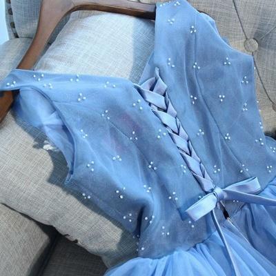 Elegant Blue Short Homecoming Dresses   V-Neck Lace-Up Cocktail Dresses_6