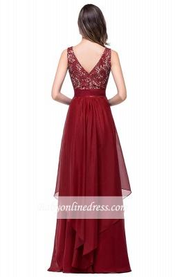 Sleeveless Appliques Lace Elegant Chiffon Long Evening Dress_7