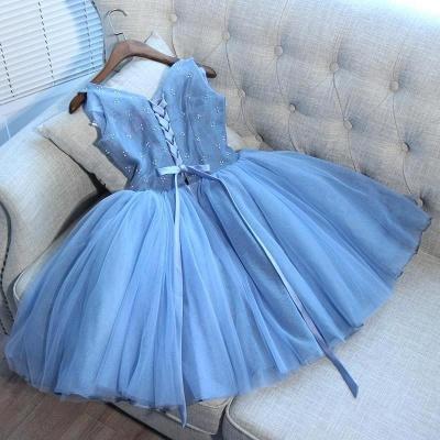 Elegant Blue Short Homecoming Dresses   V-Neck Lace-Up Cocktail Dresses_3