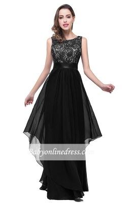 Sleeveless Appliques Lace Elegant Chiffon Long Evening Dress_5