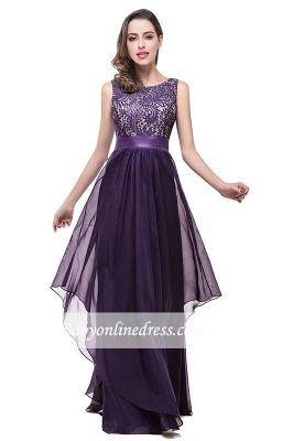 Sleeveless Appliques Lace Elegant Chiffon Long Evening Dress_8