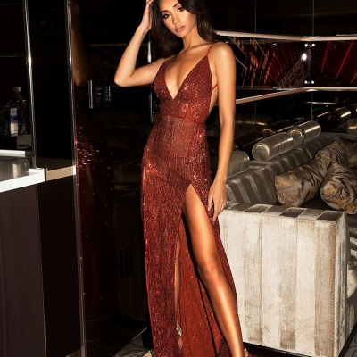 Sexy Burgundy Slits Party Dresses | Backless Sequin Long Evening Gowns_5