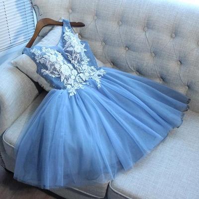 Elegant Blue Short Homecoming Dresses   V-Neck Lace-Up Cocktail Dresses_2
