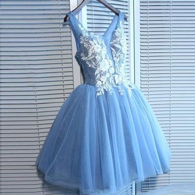 Elegant Blue Short Homecoming Dresses   V-Neck Lace-Up Cocktail Dresses_4