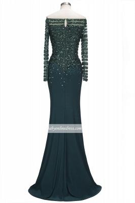 Sequins Long-Sleeves Dark-Green off-the-Shoulder Mermaid Evening Dress_5