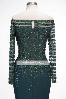 Sequins Long-Sleeves Dark-Green off-the-Shoulder Mermaid Evening Dress_3