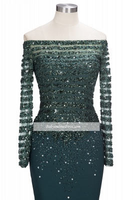 Sequins Long-Sleeves Dark-Green off-the-Shoulder Mermaid Evening Dress_4