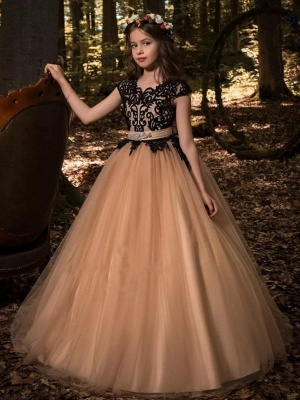Gothic Ball Gown Flower Girl Dresses | Scoop Cap Sleeves Lace Tulle Pageant Dresses