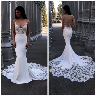 Elegant Lace Mermaid Wedding Dresses | Spaghetti Straps Backless Bridal Gowns_2